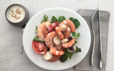 Salade de crevettes pamplemousse tomates