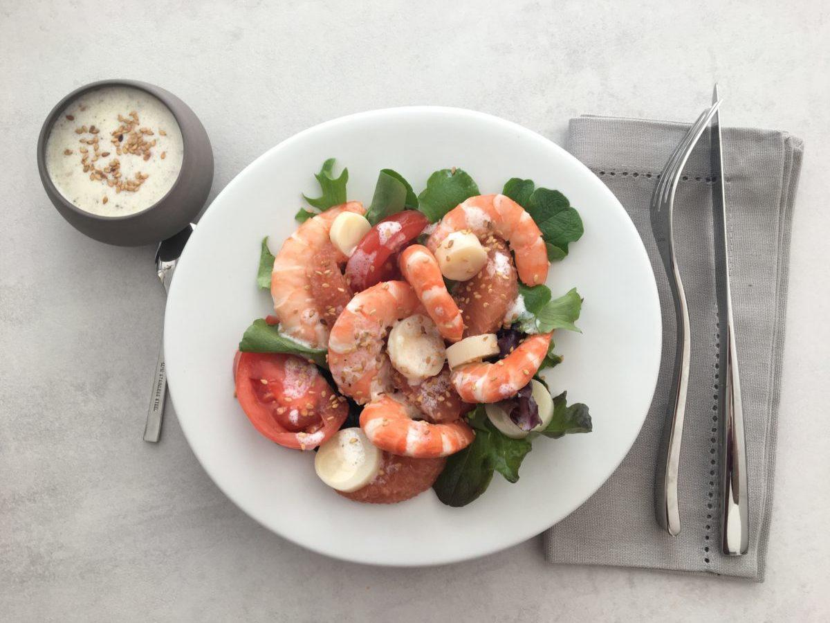 Salade de crevettes pamplemousse et tomates