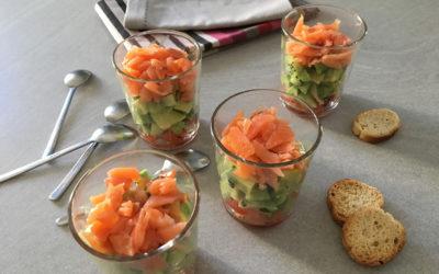 Verrines de saumon fumé Avocat kiwi