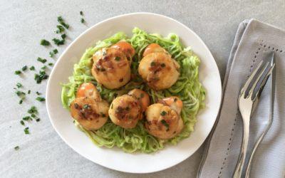 Noix de Saint Jacques au safran spaghetti de courgettes