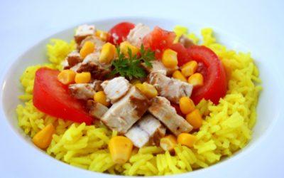 Salade thon riz jaune tomate maïs