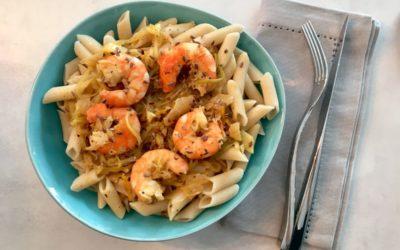 Crevettes aux pâtes et courgettes