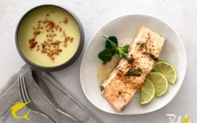 Saumon sauce soja et velouté de poireaux