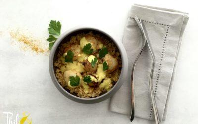 Noix de St Jacques toutes simples sauce au curry et semoule